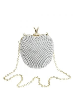 Jewel Silver Apple Clutch Bag