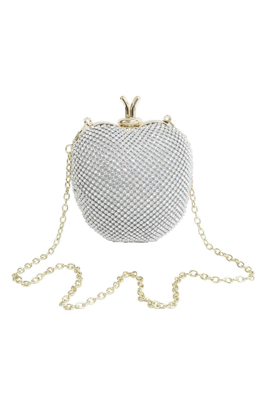 Jewel Silver Apple Clutch Bag