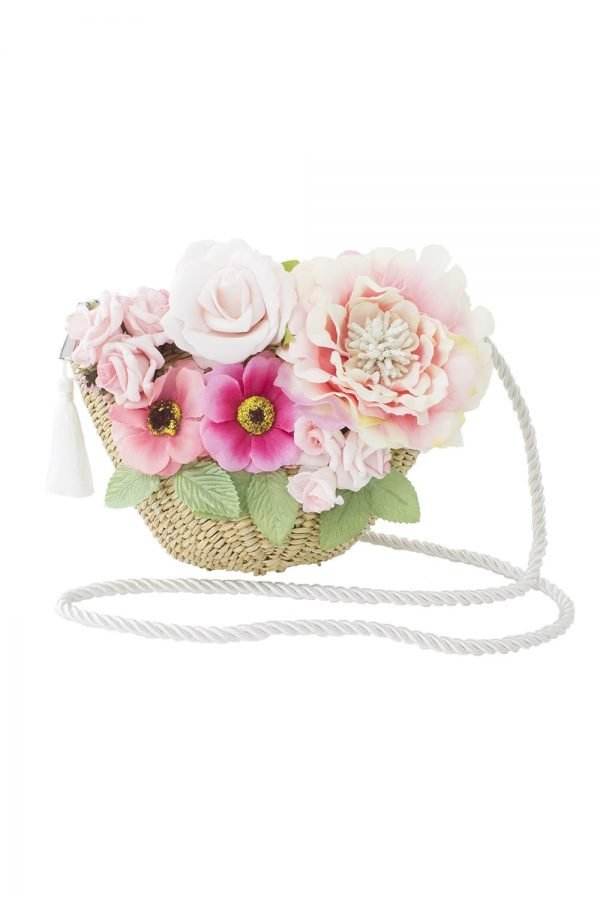 Pink Bouquet Basket Bag