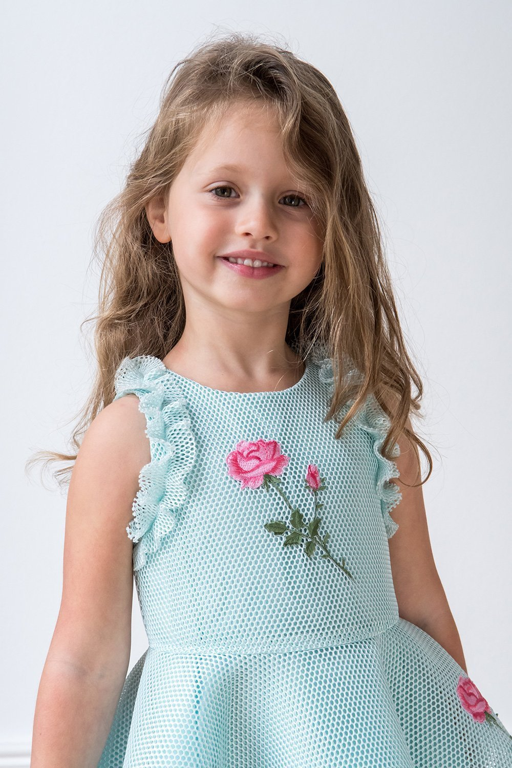 Türkis-Rosa-Rosen-Party-Kleid - Kleidung Davids Charles Childrens