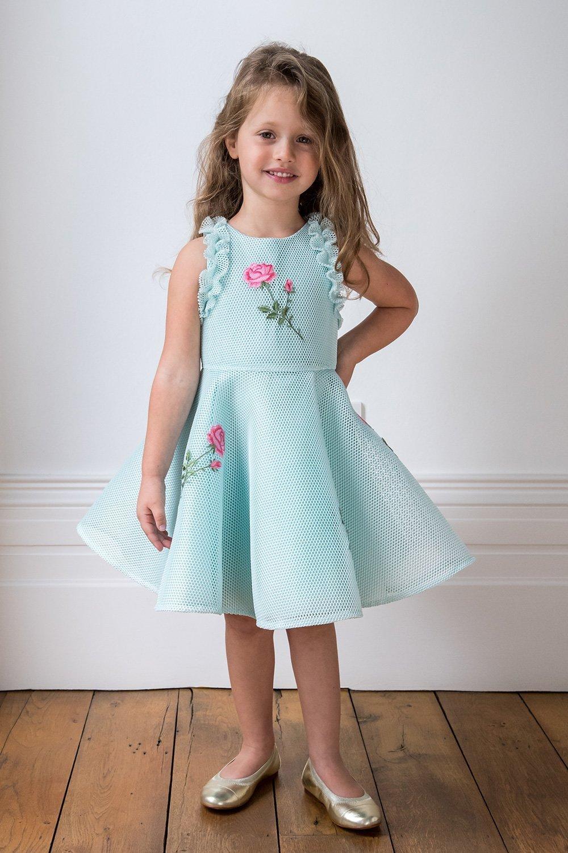 Türkis-Rosa-Rosen-Party-Kleid - Kleidung Davids Charles Childrens