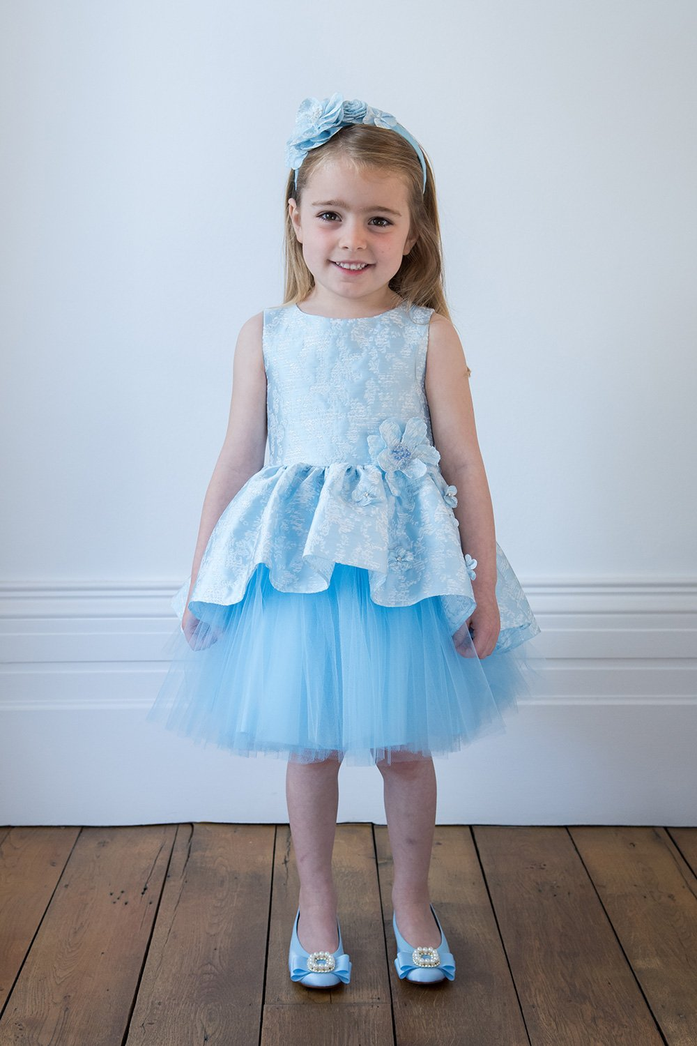 4ca5ad50f Baby Blue Floral Jacquard Dress - David Charles Childrens Wear