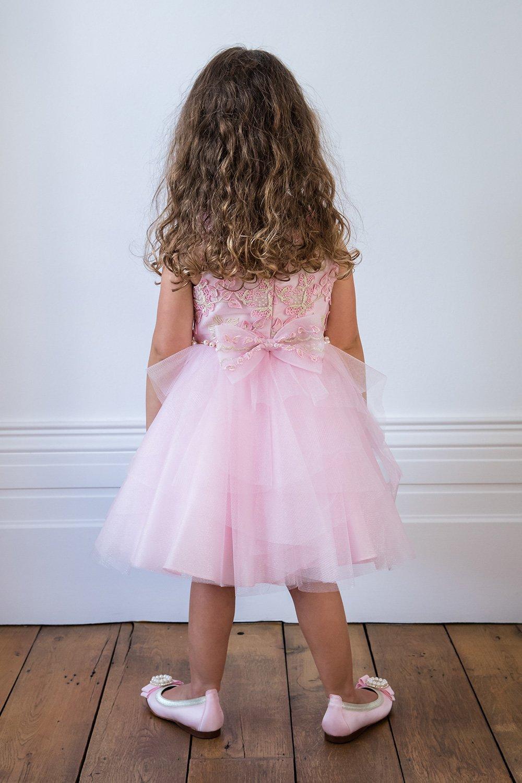 Süßigkeits-Rosa-Schmetterlings-Ballkleid - David Charles Childrens Wear