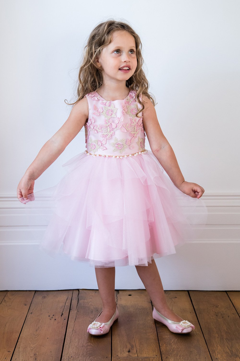 Süßigkeits-Rosa-Schmetterlings-Ballkleid - David Charles Childrens Wear