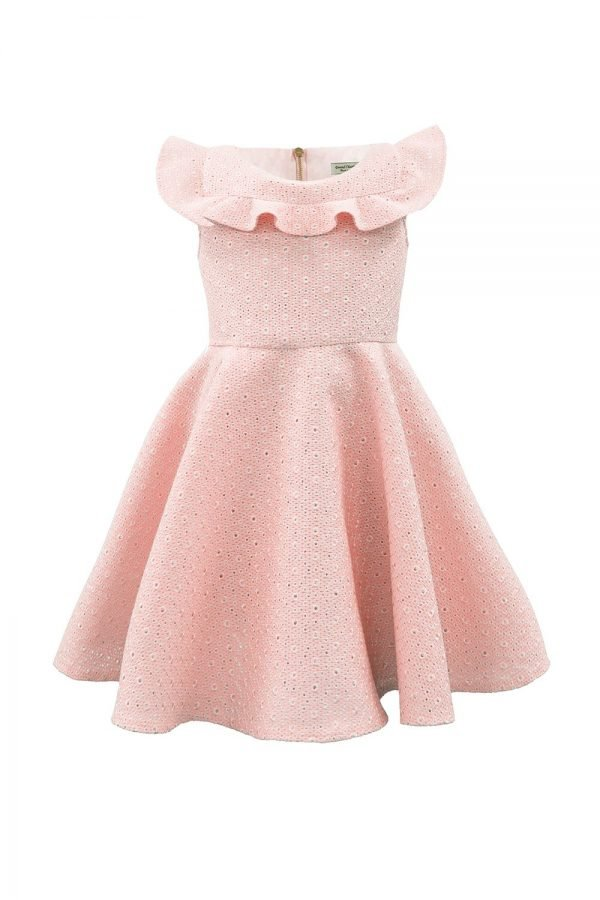 Champagne Pink Ruffle Party Dress