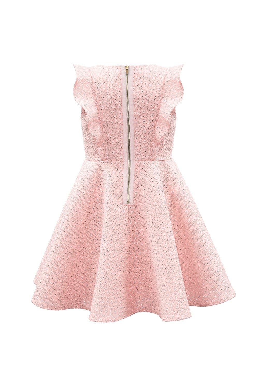 Vestido de fiesta rosa con volantes de Champagne - David Childrens Wear