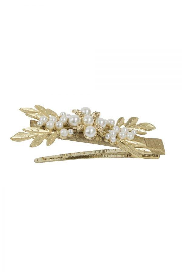 Gold Leaf Pearl Hair Clip