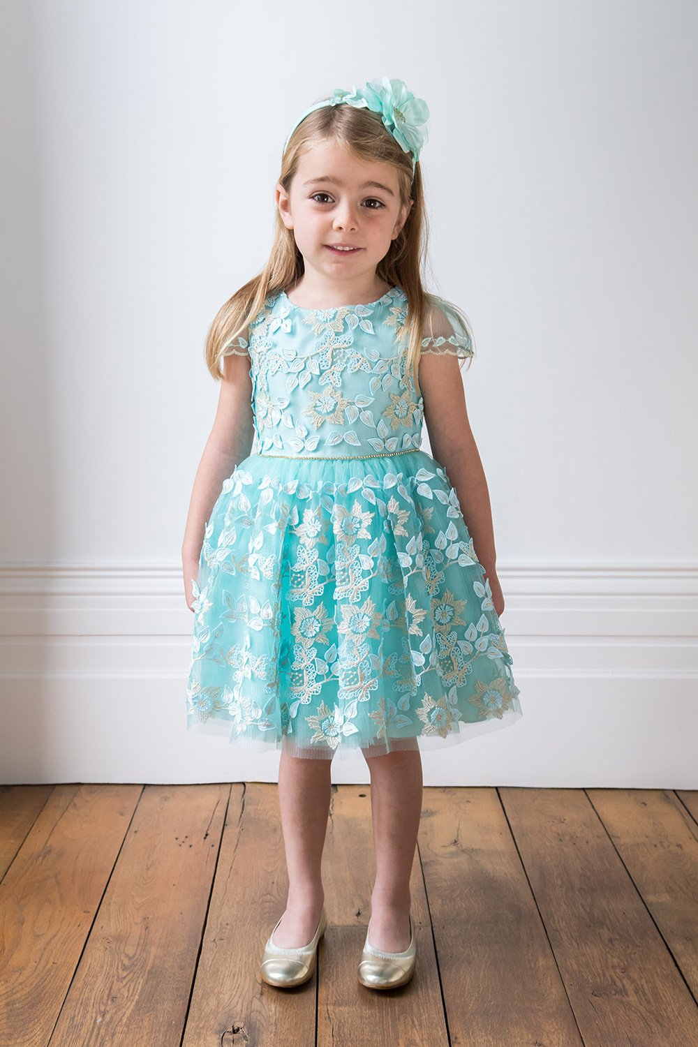 Turquoise Embroidered Daffodil Dress