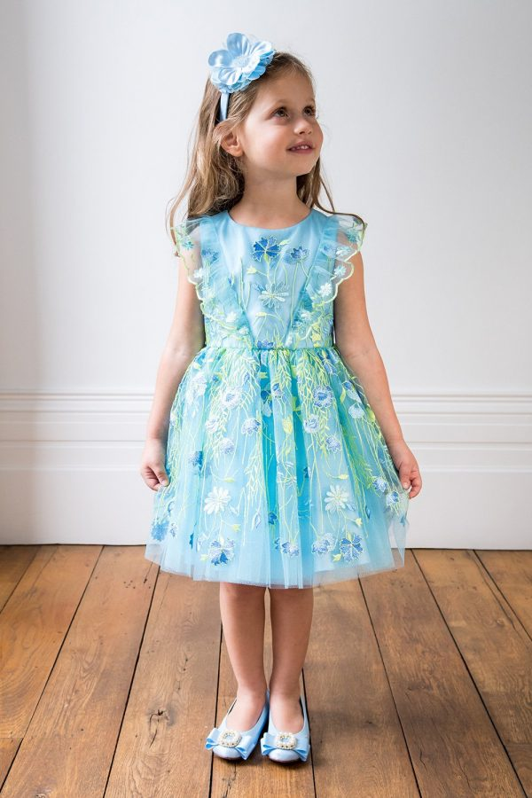 Formal Dresses For Girls Pale Blue Summer Garden Gown