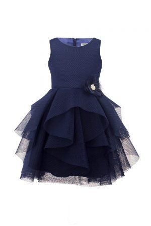 Navy Waterfall Ballerina Gown