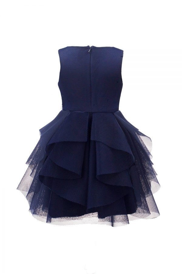 Navy Waterfall Ballerina Gown