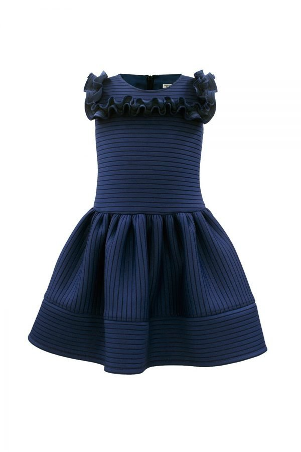 Navy Formal Ruffle Trim Dress