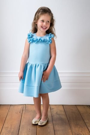 Pale Blue Formal Ruffle Dress