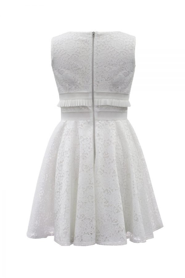 Ivory Floral Lace Deluxe Dress