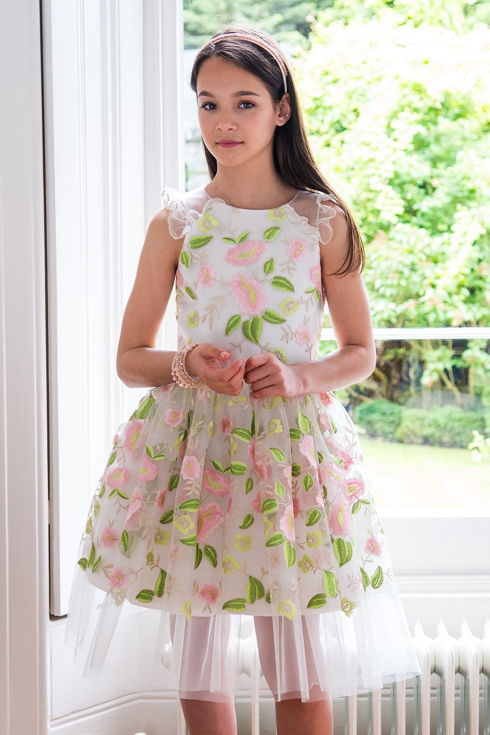 Ivory And Pink Sweetheart Dress David Charles Childrens Wear