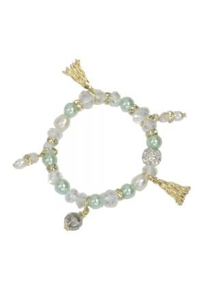 Turquoise Pearl Charm Bracelet