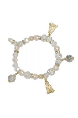 Champagne Pink Pearl Charm Bracelet