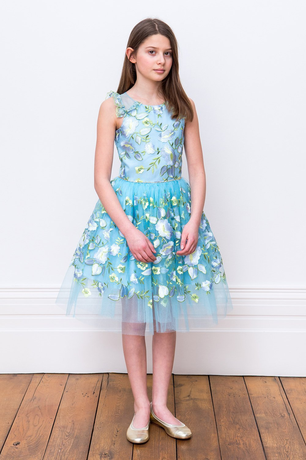 Vestido de novia de pétalos azules - David Childrens Wear