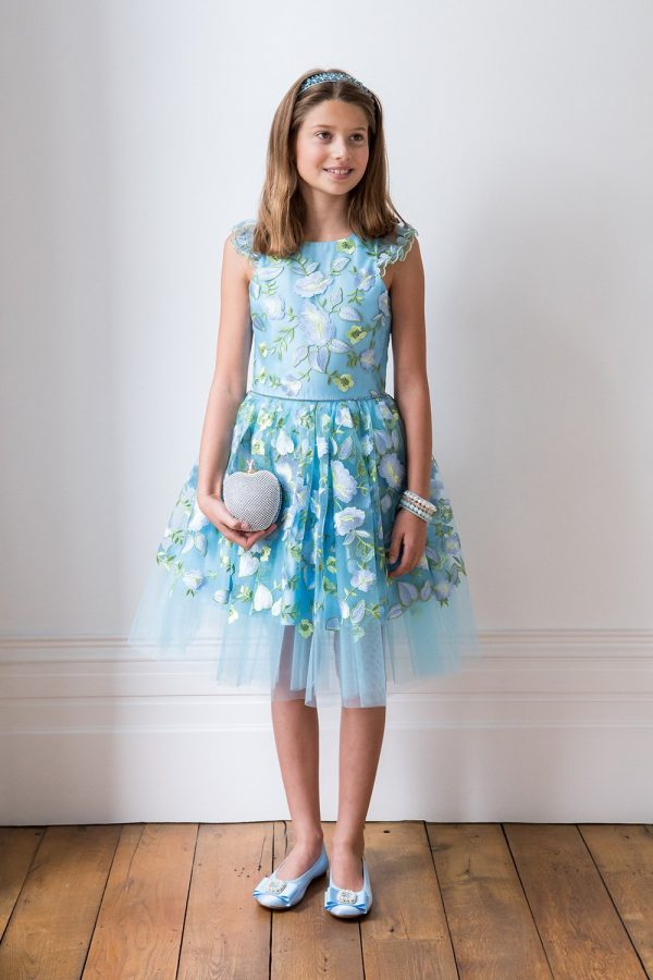 Blue Floral Ballerina Ball Gown