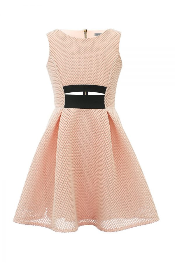 Powder Pink Cut Out Prom Dress