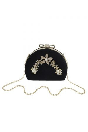 Vintage Black Velvet Clutch Bag