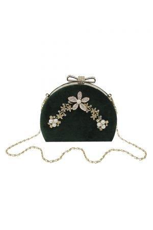 Vintage Green Velvet Clutch Bag