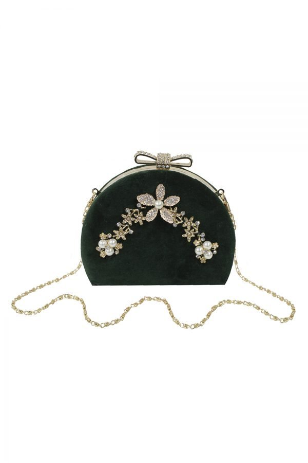 Vintage Green Velvet Clutch Bag