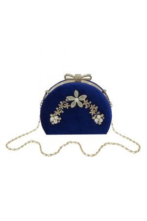 Vintage Royal Blue Velvet Clutch Bag