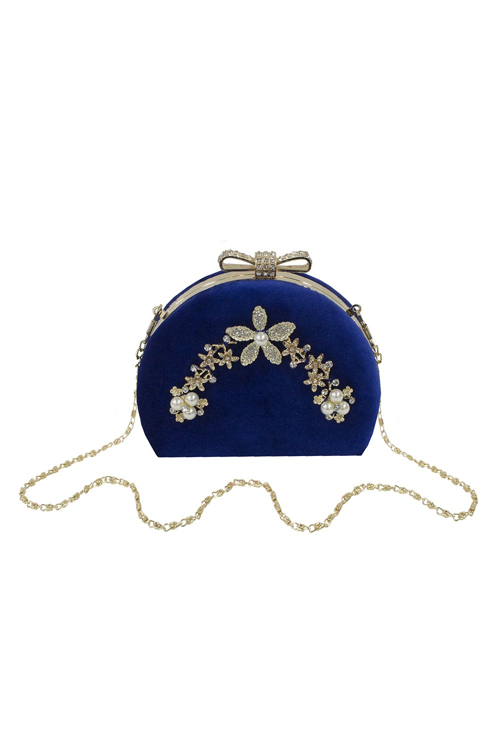 Royal Blue Satin Flowers and Pearls Evening Clutch Bag