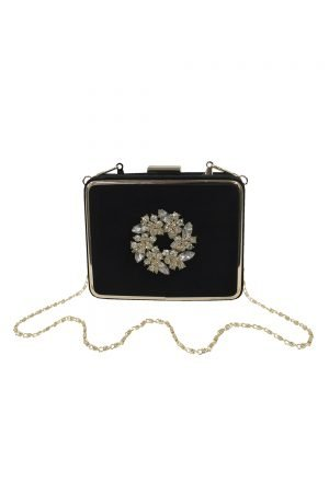 Embellished Black Square Clutch Bag