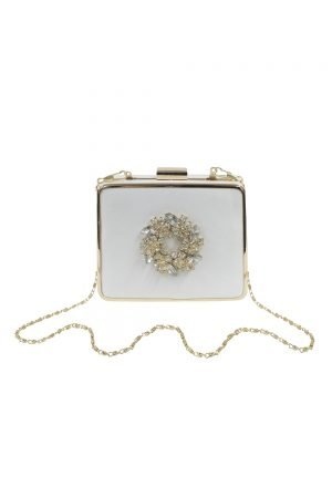 Embellished Ivory Square Clutch Bag