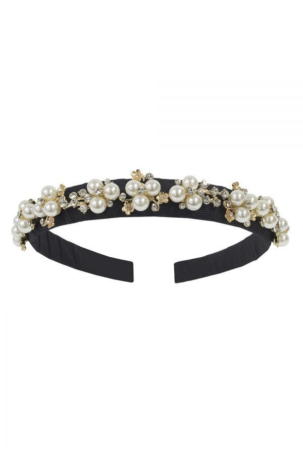 Black and Ivory Pearl Hair Band