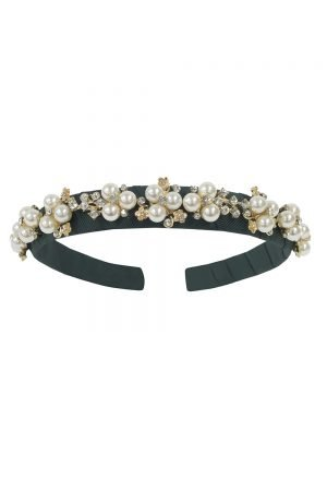 Green and Ivory Pearl Hair Band