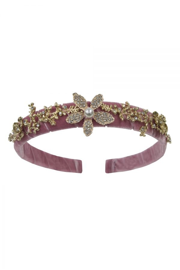 Old Rose Floral Gemstone Hair Band