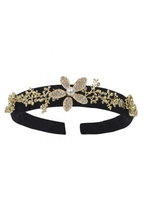 Black Floral Gemstone Hair Band