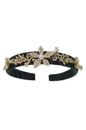 Green Floral Gemstone Alice Band