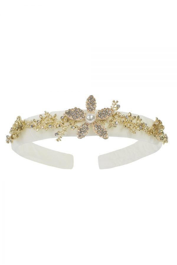 Ivory Floral Gemstone Alice Band