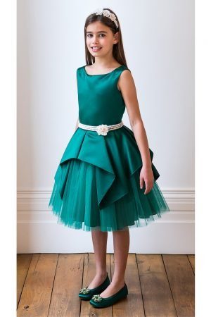 Emerald Green and Pearl Party Gown