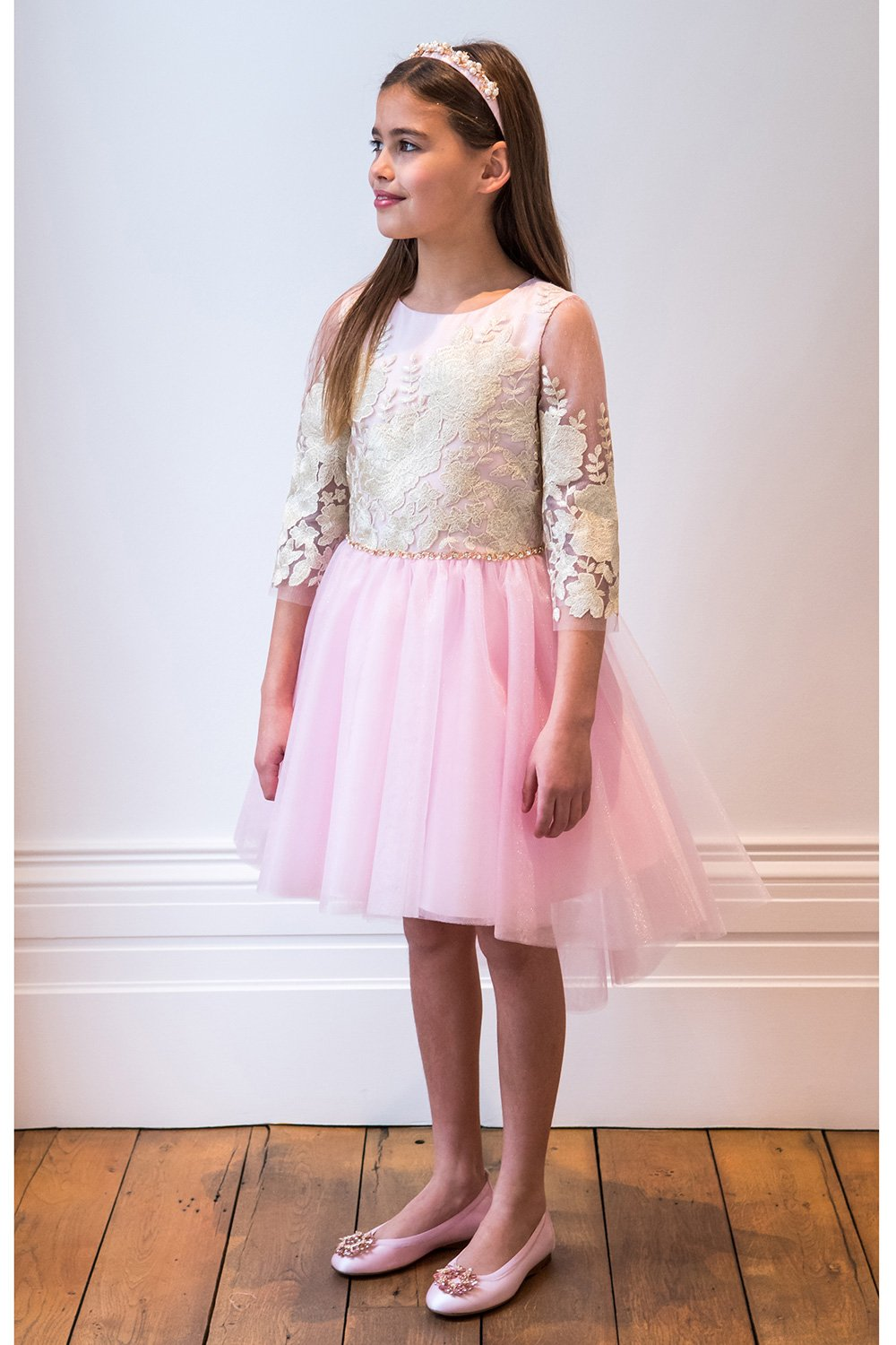 Vestido rosa y dorado Starlet - David Charles Childrens Wear
