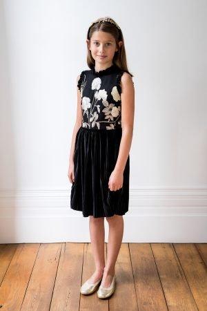 Black Velvet and Gold Floral Dress
