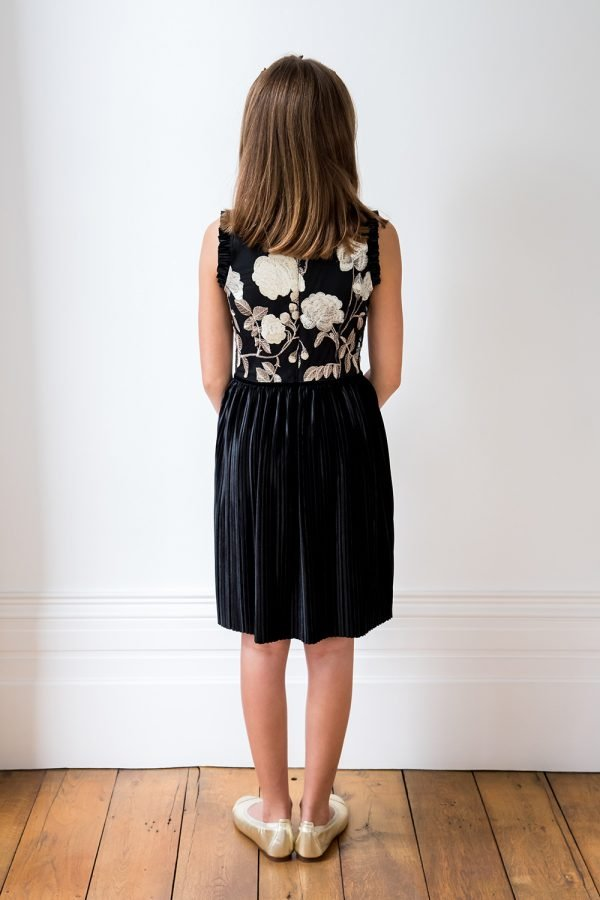 Black Velvet and Gold Floral Dress