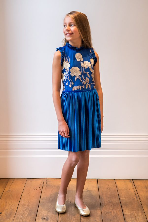 Royal Blue and Gold Occasion Dress