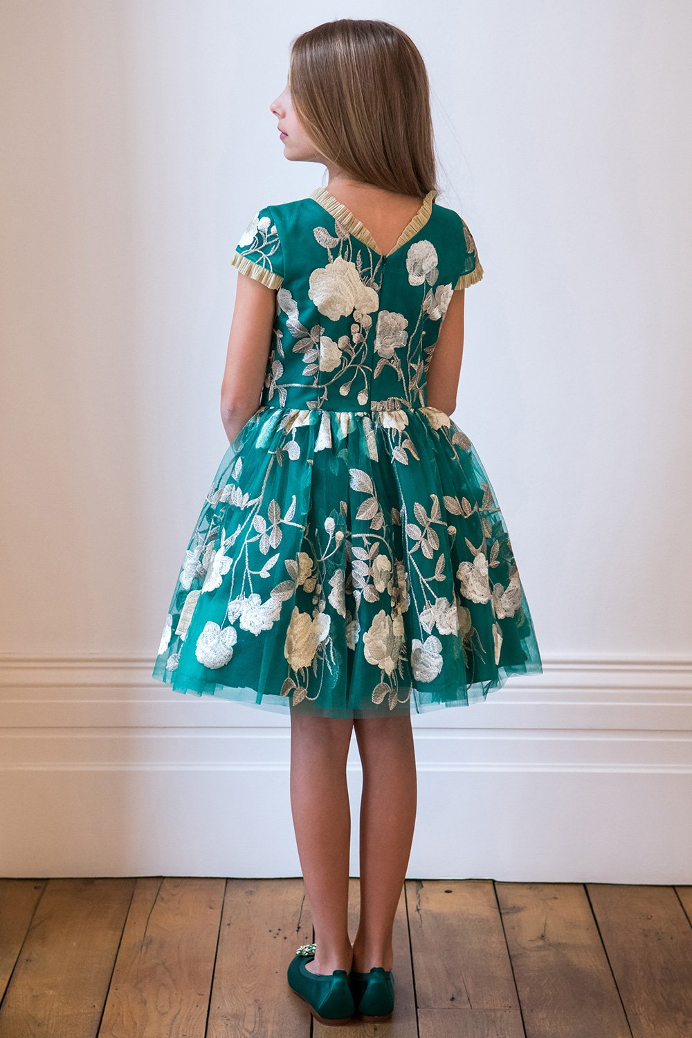 0edf9ad60c2 Jade Green and Gold Party Gown - David Charles Childrens Wear