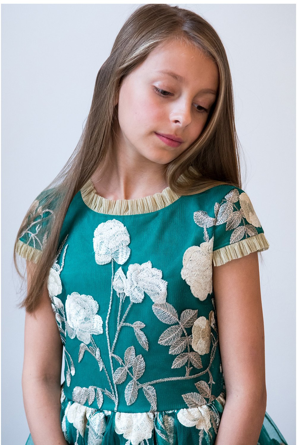 Jade Green und Gold Party Kleid - David Charles Childrens Wear