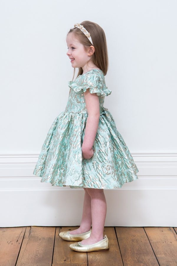 Turquoise Leaf Motif Gown