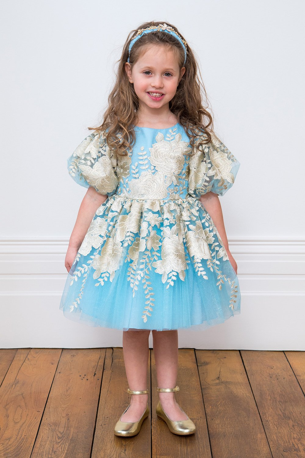 ac9c8a69b89b Pastel Blue and Gold Floral Dress - David Charles Childrens Wear
