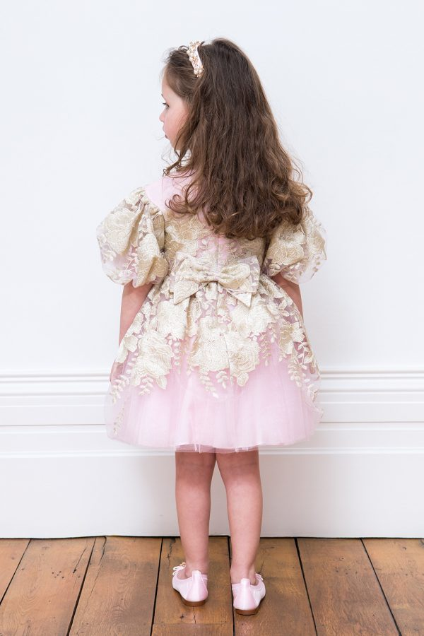 Pearl Pink and Gold Floral Dress