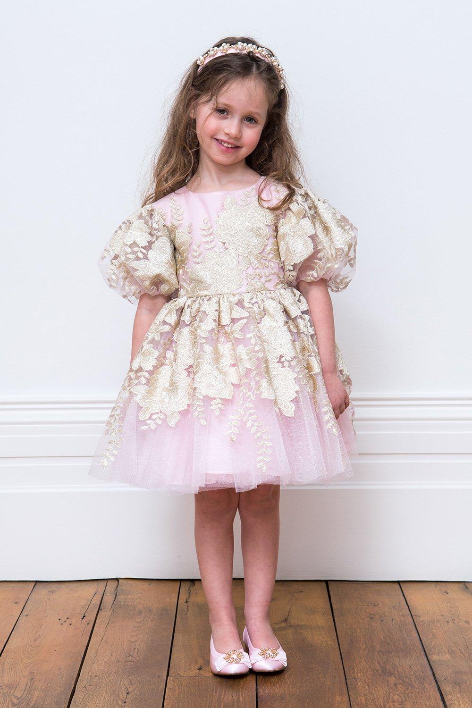 ba67e7d5a فستان باللون الزهري والذهبي باللون الوردي - ملابس أطفال ديفيد تشارلز