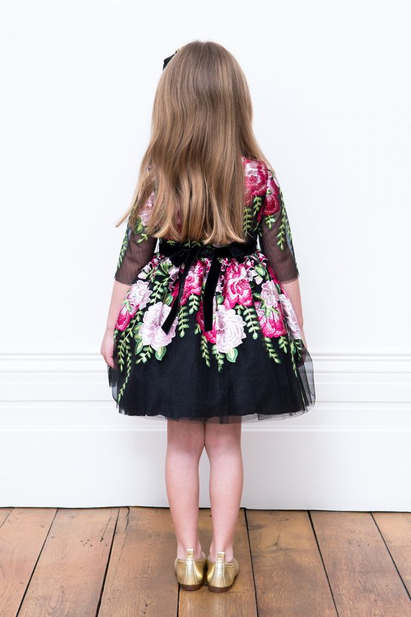 Black Winter Floral Tea Dress