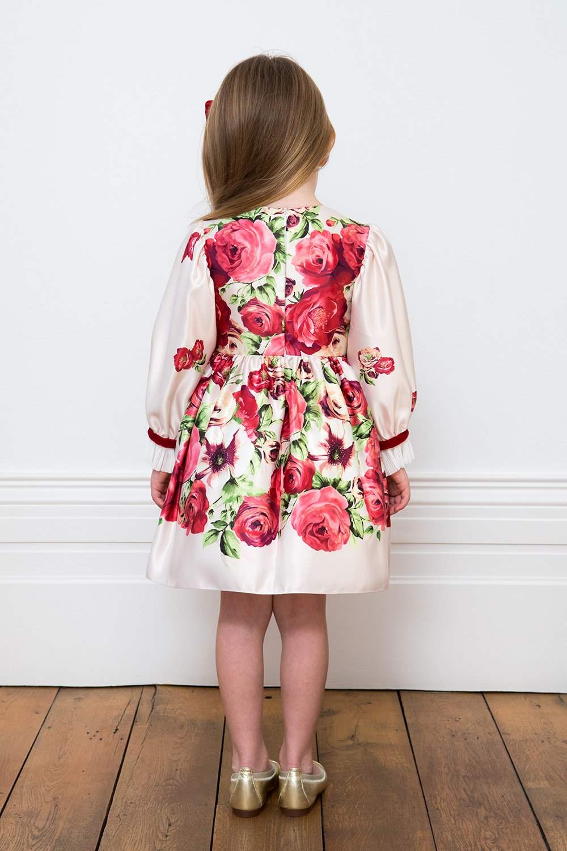 Vestido de fiesta color crema y rosa roja - David Charles Childrens Wear